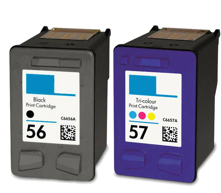 for hp 56 for hp 57 ink cartridges c6656an c6657an blk clr combo 2 pk ebay. Black Bedroom Furniture Sets. Home Design Ideas